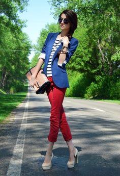 Red pants blue blazer