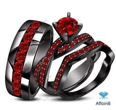 3.10 CT Black Gold Plated 925 Silver Red Garnet His/Her Trio Ring Set Size 5-14 #Affoin8