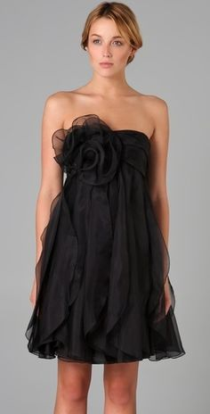 Marchesa Notte Strapless Dress with Organza Ruffle - StyleSays