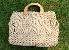 Bag Macrame Handmade Medium size Weaving Bag Ivory por CraftingMode