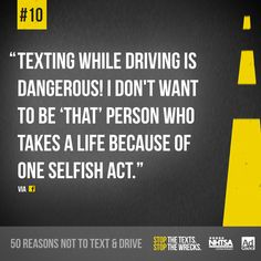 A great reason not to text and drive, here's #10 from a Facebook fan!