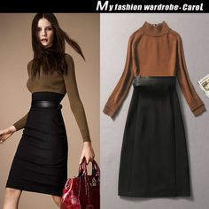 2014 Free shipping/ winter dress women dresses new fashion 2013 knee-length long evening dress high street vintage sexy tunic $86