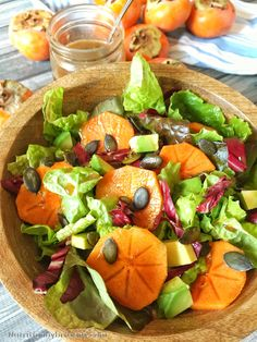 I know Fall is here when I can find Persimmons! A beautiful fruit that is oh so sweet when ripe and is packed full of nutrients! This simple salad makes for a