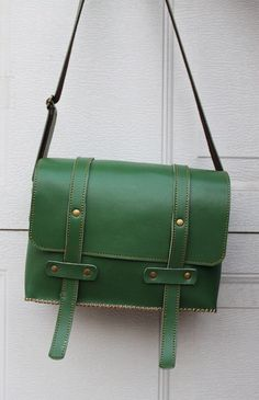 Handmade Vintage Style Green Leather Camera Bag /Crossbody Bag/ Satchel  20%off. $176.00, via Etsy.