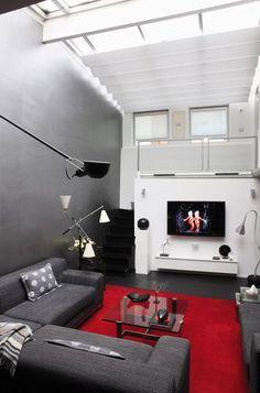 Jolie deco salon gris blanc rouge | Salons