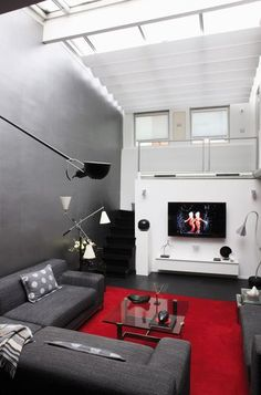 Deco appart on pinterest petite cuisine cuisine and salon gris - Deco salon gris rouge ...