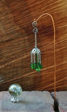 Fairy Garden Wind Chime And Gazing Ball Green Silver Dollhouse Miniature