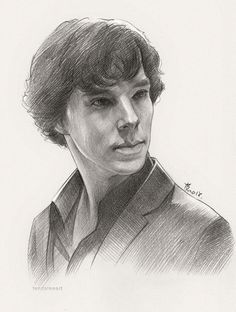 "Sherlock Sketch by feyjane."" I wish my sketches looked like this. Sherlock Holmes 3, Sherlock Holmes Benedict Cumberbatch, Benedict Sherlock, Sherlock Comic, Portrait Sketches, Pencil Portrait, Drawing Sketches, Pencil Drawings, Sherlock Drawing"