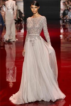 2014 New Design Heavy Beaded Custom Formal Long Sleeve Wedding Dresses