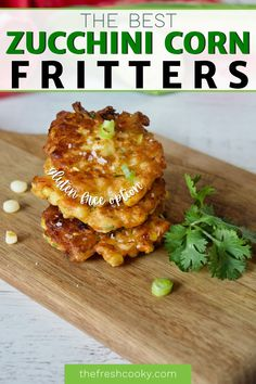 You are going to love these fresh from the garden, zucchini and corn fritters, packed with veggies and flavor. Easy to make appetizer or side, plus gluten free option. Recipe via @thefreshcooky Easy To Make Appetizers, Cold Appetizers, Easy Appetizer Recipes, Zucchini Corn Fritters, Sweet Corn Fritters, Best Side Dishes, Side Dish Recipes, Garlic Brussel Sprouts, Zucchini Vegetable