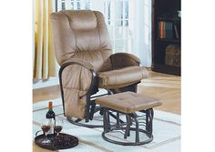 Monarch 7275 - Tan Padded Micro/ Metal Swivel Rocker Recliner with Ottoman | Sale Price: $361.00