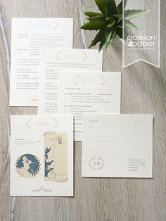 Einladung zur Hochzeit, dreiteilige Faltkarte in Pink ...