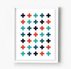 Plus Sign Print, Scandinavian Cross Poster, Swiss Cross Minimalist Art, Abstract Art, Nordic Decor, Scandinavian Art Poster, Geometric