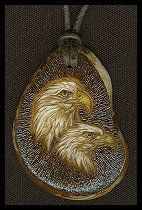 'Birds of a Feather' - Bald Eagle. The background of this piece is heavily textured...it makes for an interesting contrast. Pyrography and acrylic paint. Sold.
