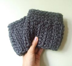 Gray Boot Cuffs / Over Knee Warmers by DottieQ