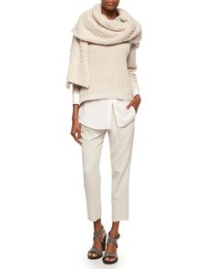 Brunello Cucinelli  fall 16 English Rib Knit Paillette Sweater, Long-Sleeve Silk-Hem Shirt, Pleated Crepe Cropped Pants & Cashmere-Blend Boucle Knit Scarf