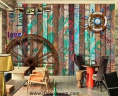 beibehang Wallpaper Mural Wall Sticker Bar KTV Vintage Old Wooden Graffiti Theme Background Wall Paintings papel de parede Pallet Privacy Fences, Graffiti, Wooden Wheel, Wall Murals, Wall Art, Internal Design, Theme Background, Wallpaper Decor, Wooden Walls