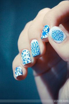 blue and white porcelain nails
