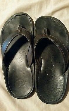 cfd6b3e9f5fcf Brown Leather Olukai Ohana Men s Flip Flops (Size 11)