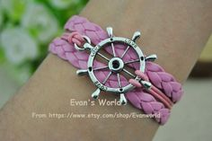 Rudder Bracelet Pink rope and Braided Leather cord by Evanworld, $4.50 Beautiful handmade bracelet, the best gift