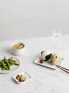 Mushroom and Salmon Onigiri with Pickles