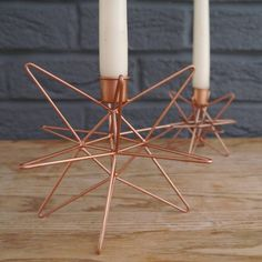 3D Copper And Gold Star Candlesticks