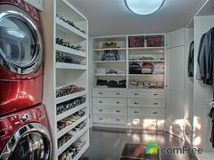 Honestly, the best idea ever: washer/dryer inside your walk-in closet. Why didn't I think of that?