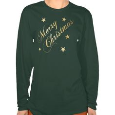 Merry Christmas Elegant Script Gold Stars Tees - choice of style or color, for ladies, men and kids! Merry Christmas in curly script, varying shades of gold, and cheerful Christmas stars. This shirt is great for casual wear with jeans; or, can be dressed up with jewelry or a jacket. Wear at home, at work or on the go to spread happy blessings wherever you are!