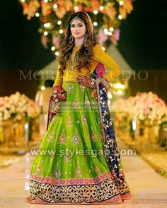 161 Best Latest Mehndi Dresses \u0026 Lehengas images