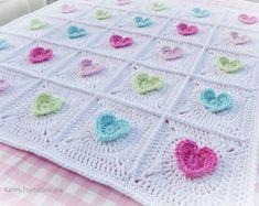 CROCHET PATTERN Rainbow Bricks baby blanket by KerryJayneDesigns