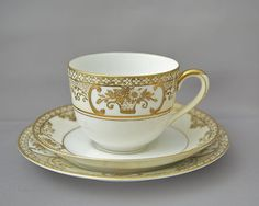 Noritake antique china teacup, saucer & plate trio gilded Basket of Flowers 1908