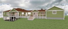 Rear rendering showing the Addition on the left side. Also incorporates new rear deck additions. Drawing Board, Shed, Deck, Outdoor Structures, Mansions, House Styles, Home Decor, Lean To Shed, Front Porch