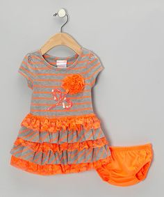 Take a look at this Orange Stripe Dress - Infant, Toddler & Girls on zulily today!