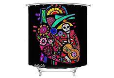 Day of the Dead Shower Curtain Mexican Folk Art Lovers Bathroom Decor gift by Heather Galler - Sugar Skulls