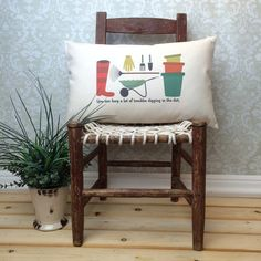 Gardening Pillow Cover and Insert, Gardener Gift, Gardening Art, Wheelbarrow, Flower Pots, Gardening Tools, Rake