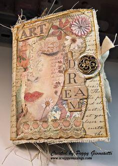 Bullet Journal Vintage, Vintage Notebook, Bullet Journal Writing, Vintage Journals, Journal Covers, Art Journal Pages, Journal Cards, Tim Holtz Fabric, Fabric Journals