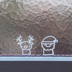 Rendier + kerstman raamtekening