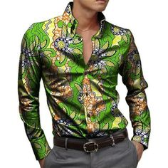 African print mens shirts leisure man dress shirt male dashiki cotton and fashion printting style shirt customized #AfricanFashion