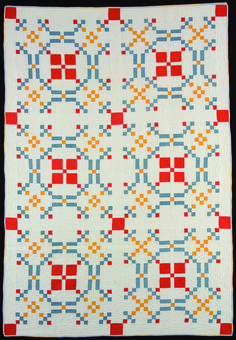 """Burgoyne Surrounded,"" maker unknown, West Virginia, 1935-1940, 84 x 58"". In:  Colonial Revival Quilts at the Quilt Museum in Lincoln NE, November 2012."