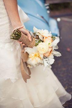 burlap + wedding bouquet :)
