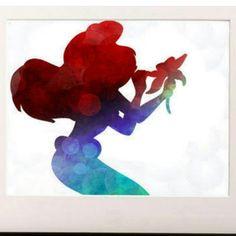 Disney Princess Ariel Little Mermaid silhouette Watercolor Print