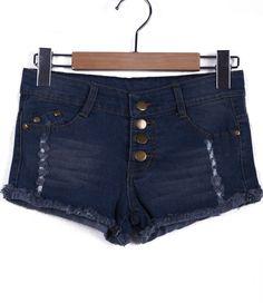 #SheInside Blue High Waist Buttons Ripped Denim Shorts