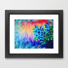SHADES OF BEAUTIFUL - Stunning Bright BOLD Rainbow Ombre Pattern Blue Floral Hyacinth Nature Autumn Framed Art Print by EbiEmporium - $37.00