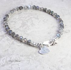 Labradorite Bracelet Initial Stamped Sterling Silver by WildAsters