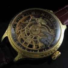 Mens GOLD 1915 OMEGA SWITZERLAND Vintage  SKELETON Watch QUALITY ENGRAVING