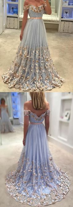 Elegant Light Blue Tulle Off The Shoulder Evening Gowns Lace Embroidery Prom Dresses 2018 Butterfly Gowns