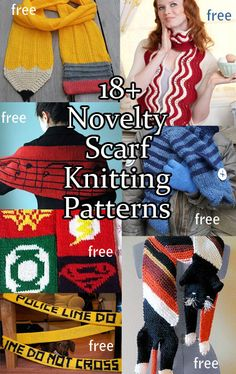 Unique, Fun, and Novelty Scarf Knitting Patterns - great for non-costume costumes