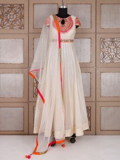 Shop Cream silk wedding wear anarkali suit online from G3fashion India. Brand - G3, Product code - G3-WSS21662, Price - 6995, Color - Cream, Fabric - Silk,