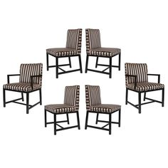 """Michael Taylor Baker Dining Chairs - Set of 6 on Chairish.com  Chicago $2995/6  33"""" overall height, pink & black, black wood"""