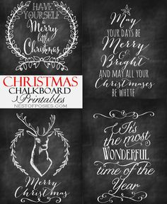 Christmas Chalkboard Printables - Nest of Posies